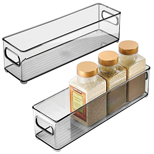 mDesign Slim Plastic Stackable Food Storage Container Bin Handles for Kitchen Pantry Cabinet Fridge Freezer - Long Narrow Organizer Holds Snacks Produce Vegetables Pasta - 2 Pack - Smoke Gray
