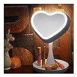Espejo de tocador con aumento 1X/3X con luces LED y almacenamiento de joyas, portátil giratorio de 180 grados para maquillaje, recarga por USB, espejos de mesa, decoración del hogar, color blanco