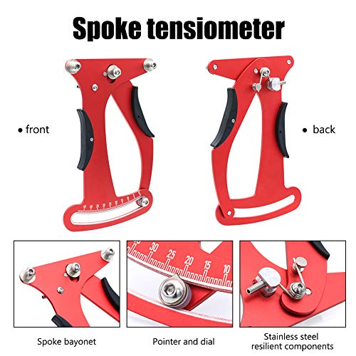 Mountain Bike Spoke Tension Meter Wrench Kits, Reusable Aluminum Alloy Mountain Bike Repair Tool Abrasoin Resistant Not Easy to Deform and Fade, for Personal or Professional Use