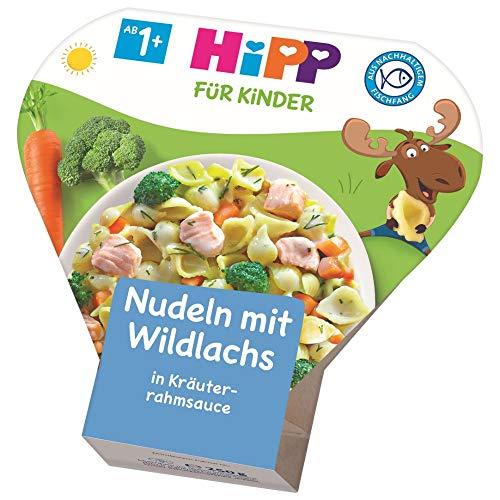 Hipp Bio für Kinder Teller aus aller Welt - Nudeln mit Wildlachs in Kräuterrahmsauce, 6er Pack (6 x 250 g)
