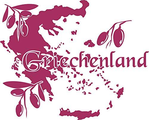 GRAZDesign Wandsticker Deko Aufkleber Griechenland - Deko Wohnzimmer modern Landkarte Umriss - Wandtattoo Oliven Deko / 50x40cm / 821 Magnolia