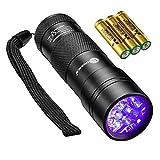 TaoTronics UV Taschenlampe Schwarzlicht für trockene Haustiere Urin 12 LED Handlampe aus Alulegierung 395nm UV Blacklight Taschenlampendetektor und Flecken 3 kostenlosen AAA-Batterien