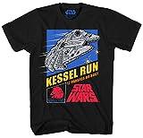Star Wars Millennium Falcon Han Solo Chewbacca Chewie Kessel Run Video Game Funny Humor Pun Mens Adult Graphic Tee T-Shirt (Black, XXX-Large)