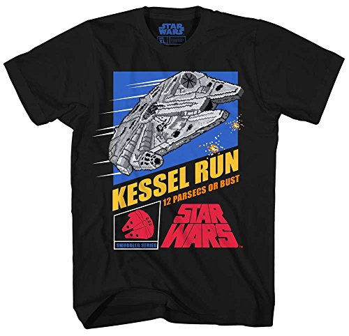 Star Wars Millennium Falcon Han Solo Chewbacca Chewie Kessel Run Video Game Funny Humor Pun Mens Adult Graphic Tee T-Shirt (Black, Large)