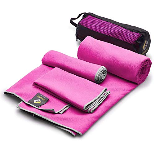 OlimpiaFit Set of 3 Towels Microfiber Towel Perfect Sports & Travel &Beach Towel. Fast Drying - Super Absorbent - Ultra Compact. Suitable for Camping, Gym, Beach, Swimming, Backpacking. Pink