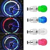Glumes - Tapas LED para válvula de neumático, forma de calavera, para motocicleta, bicicleta, coche, camión, accesorios de coche, accesorios para bicicleta, luces estroboscópicas de neón, 2 unidades