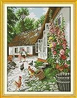 庭に刻印されたクロスステッチキットチキン11CT初心者用のプリント済みクロスステッチキット針と糸の刺繍スターターキット40x50cm