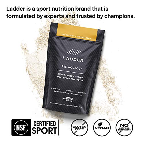 LADDER Sport Pre-Workout Tropical Fruit - 100mg Natural Caffeine, Beta-Alanine, Citicoline, Creatine, Theanine, No Artificial Sweeteners, 30 Serving Bag, NSF Certified for Sport