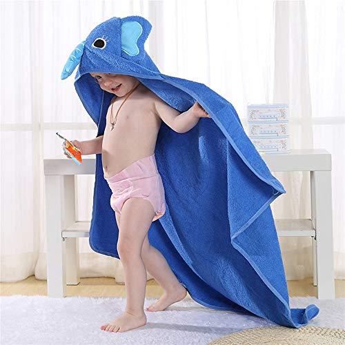 HXLFYM Toallas Con Capucha para Niños, Elefante Azul En Forma De Bebé con Capucha De Baño con Capucha De Microfibra Súper Absorbente De Fibra Ultra Delgada Bebé Albornoz De Bebé para Recién Nacido (90