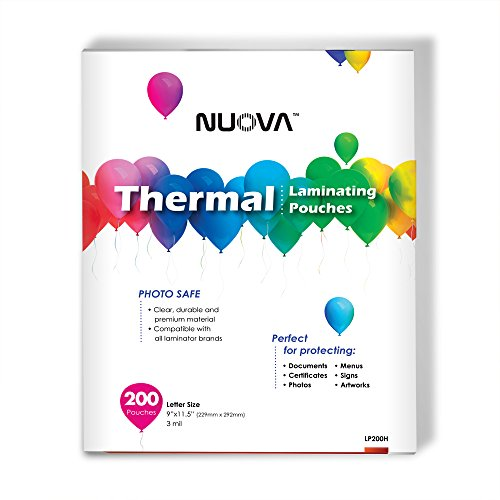 Nuova Premium Thermal Laminating Pouches, 9' x 11.5'/Letter Size/3 mil, 200 Pack (LP200H)