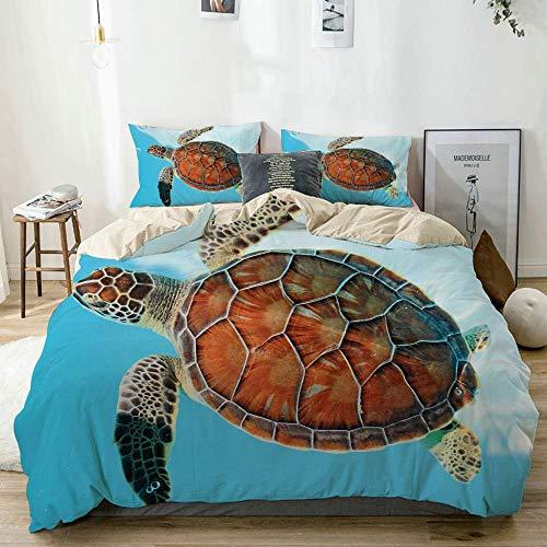 Qoqon Duvet Cover Set Beige,Turtle Sea Animal Caribbean Print,Decorative 3 Piece Bedding Set with 2 Pillow Shams