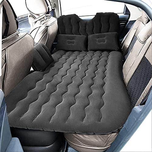 GOTOTOP - Materasso gonfiabile, per 2 persone, con 2 cuscini, 2 sgabelli gonfiabili e pompa elettrica, per sedile posteriore, auto, SUV, campeggio, carico fino a 150 kg, colore: Nero