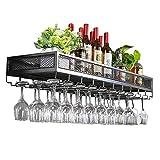 Bar Unit Floating Shelves Wine Rack Loft Wall Shelf Metal Iron Ceiling Rack Storage Wine Racks Hanging Wine Bottle And Glasses Holder Frame Wine Stemware Holder Goblets Rack