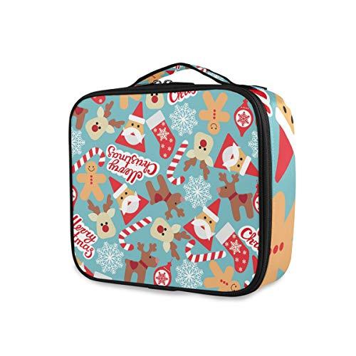 Christmas Reindeer Santa Claus Professional Makeup Bag Travel Cosmetic Case Organizer Portable Makeup Toiletry Bag Makeup Travel Bag for Women