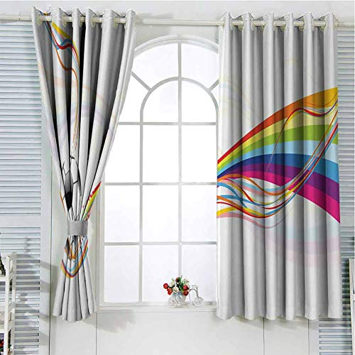 hengshu Soccer Black Out Window Curtain 2 Panel Rainbow Patterned Swirled Lines Abstract Football Pattern Colorful Stripes Design Living Room Curtains for Bedroom W52 x L63 Inch Multicolor
