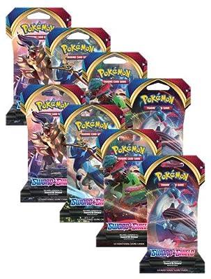 Pokemon TCG Sword and Shield (8) paquetes de refuerzo con mangas – 10 cartas por paquete. por Pokemon
