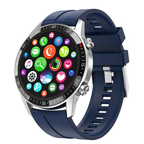[4U.com] Reloj inteligente Compatible con iOS+Android Bluetooth Notificación de llamadas Música Rastreador actividad física Monitor frecuencia cardíaca y sueño 7 días en espera IP67 Dial personalizado