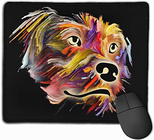 Alfombrilla de ratón para juegos con retrato de perro en acuarela, alfombrilla de ratón rectangular de goma antideslizante personalizada, bordes cosidos personalizados, Primrose