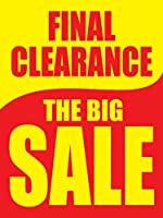 Final Clearance The Big Sale イエロー&レッド リテールディスプレイサイン 幅18インチ x 高さ24インチ 5 Pack