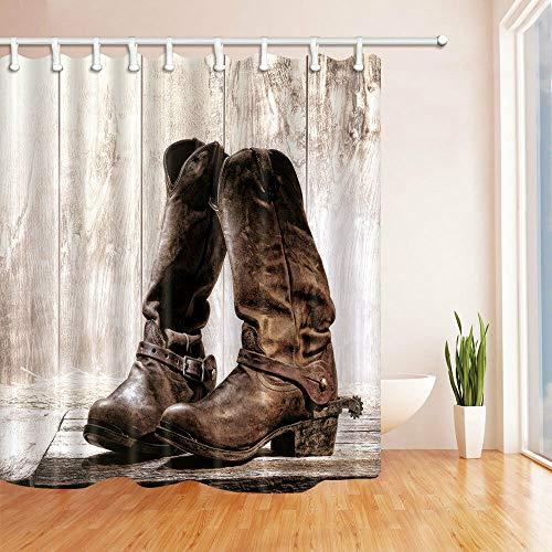 Alter Cowboylaarzen badkamer douchegordijn waterdicht weefsel met 12 haken 71 * 71 inch