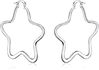 Silver Star Earrings, Star Hoop Earrings Silver for Women with A Silver Polishing Cloth, Star Hoop Earrings for Sensitive Ears, 925 Silver-Plated, 50mm/2inch, No Lead/Nickel Included