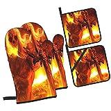 Príncipe Demonio 3D con Cabeza De Esqueleto De Pelo De Llama con C,4Pcs Guantes de Cocina y Juegos de Soportes para Macetas,con Caliente Almohadillas para Cocinar,Hornear,Asar a la Parrilla Guantes
