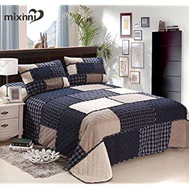 mixinni Cotton Geometric Pattern Bedding 3 Piece Bedspread Quilt Set With Two Matching Shams-(Navy Blue,Queen Size)