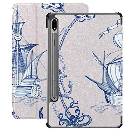 Funda para Samsung Galaxy S7 Plus con Soporte para bolígrafo S Adventure Stories Fondo Pirata Funda de Cuero PU con Borde Vintage para Samsung Galaxy Tab S7 Plus 12,4 Pulgadas 2020, Funda para Samsun