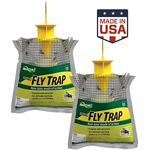 RESCUE Outdoor Disposable Hanging Fly Trap – 2 Pack