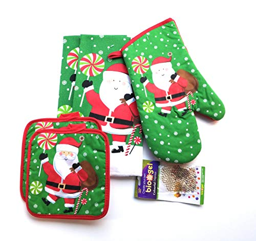 Village Gifts Santa Claus Themed Kitchen Towel Set (Includes: 1 Oven Mitt, 2 Pot Holders and 2 Dish Towels).