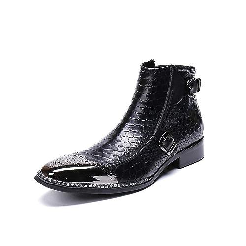 LOVDRAM Chaussures en Cuir pour Hommes Botte Plate en Cuir Italien Importé à Bout Carré en Cuir Italien