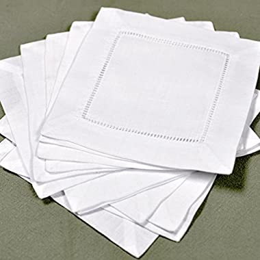 White Linen Hemstitched Cocktail Napkins- 1 Dozen 6  X 6 - Ladder Hem Stitch Cloth Napkin Coasters