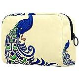 Neceser de viaje, bolsa de viaje impermeable, bolsa de aseo para mujeres y niñas, el pavo real con flores 18,5 x 7,5 x 13 cm