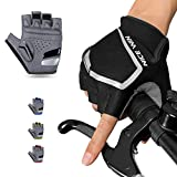 NICEWIN Cycling Gloves - Motorcycle/Mountain Bike - Half-Finger Workout Gloves Road Bicycle Glove for Men or Women Black L