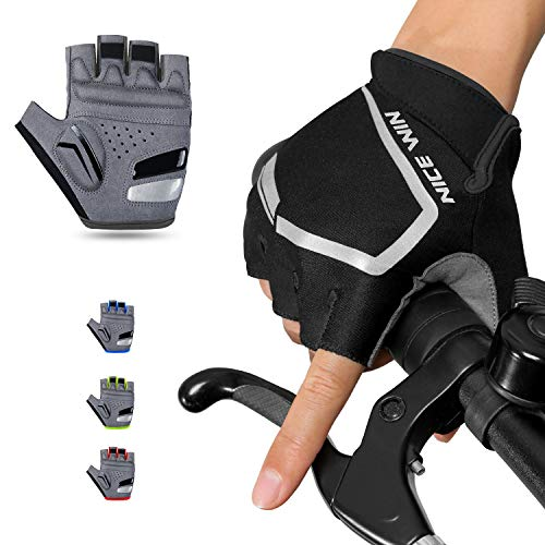 NICEWIN Cycling Gloves - Motorcycle/Mountain Bike - Half-Finger Workout Gloves Road Bicycle Glove for Men or Women Black M