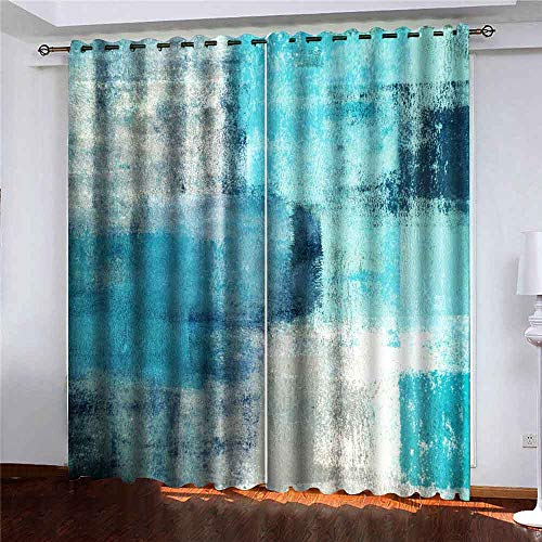 Teepel Cafe Window Curtains Window Darkening Curtains 52 X 84 Inches (2 Panels). Turquoise Grey Abstract Art Painting Bay Window Curtains for Bedroom Living Room