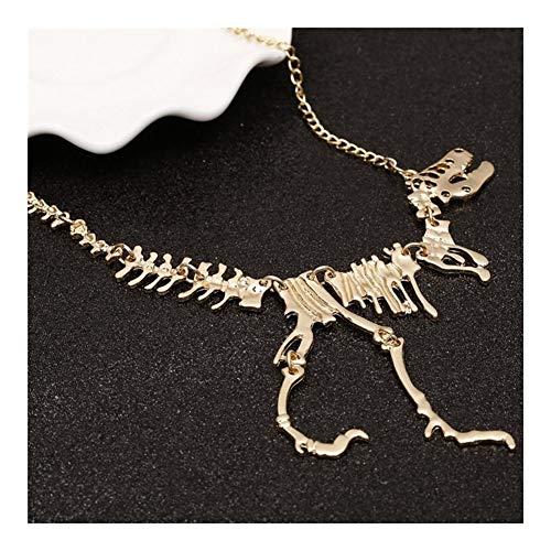 Accesorios Dinosaurio Collar Largo Esquelética Gótica Pendiente del Encanto del Collar del Dragón del Hueso De La Aleación Collares Joyería De Plata Regalo (Metal Color : Gold)