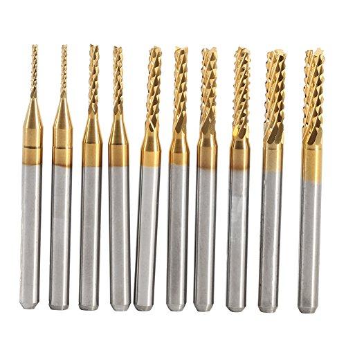 10 stks Titanium gecoate End Mill Set gecementeerd hardmetaal CNC frezen graveren Bits snijwerk Boor Gereedschap 1.0-3.0mm
