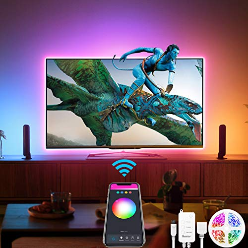 Alexa USB Tiras LED TV 3M, Luces de LED WiFi inteligente Bluetooth Sync con Música, Control de App y Voz Compatible con Alexa y Google Home, Tiras LED TV 5V para 40-60in HDTV/PC, Sin Control Remoto