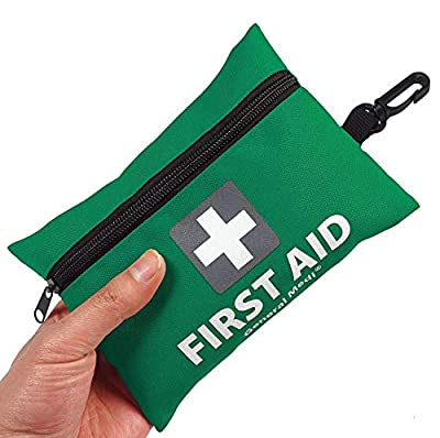Mini First Aid Kit,92 Pieces Small First Aid Kit - Includes Emergency Foil Blanket,CPR Face Mask,Scissors for Travel, Home, Office, Vehicle,Camping, Workplace & Outdoor (Green) by HANGZHOU AOSI HEALTHCARE CO.,LTD