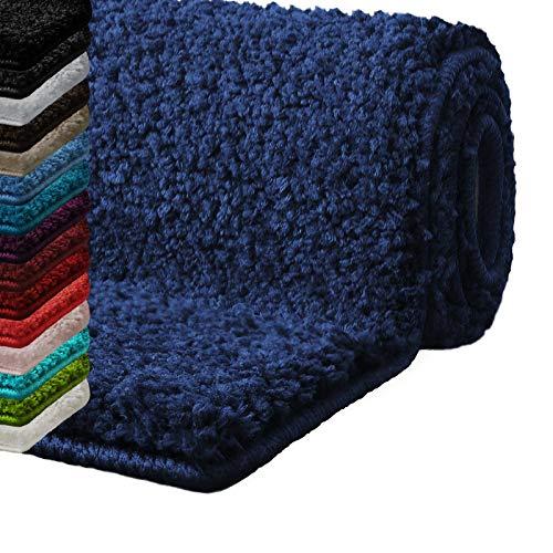 casa pura Badematte Hochflor Sky Soft | Weicher, Flauschiger Badezimmerteppich in Shaggy-Optik | Badvorleger rutschfest waschbar | schadstoffgeprüft | 16 Farben in 6 Größen (50x80 cm, Marineblau)