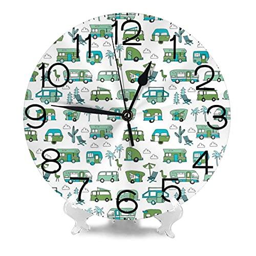 Rv Road Trip Camper Van Camping reloj de pared 9.8 pulgadas silencioso redondo reloj de pared funciona con pilas no tictacs creativo decorativo reloj f