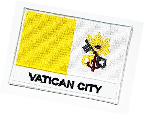 Vatikanstadt Länderflagge Vatikanstadt Flagge Nationalemblem zum Aufbügeln auf Uniform Jacke T Shirt Jeans Cap Weste Biker Patch Flagge Militär Aufkleber Stickerei Aufnähen (04)