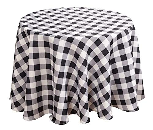 Biscaynebay Printed Fabric Tablecloths, Water Resistant Spill Proof Tablecloths for Dining, Kitchen, Wedding and Parties (Black/Grey, 60
