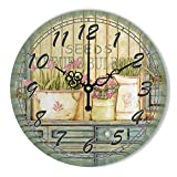 Erpot Vintage Large Decorative Wall Clock with Waterproof Clock Face and Roman Number Retro Wall Decor Watch-Style 16-12 Inch