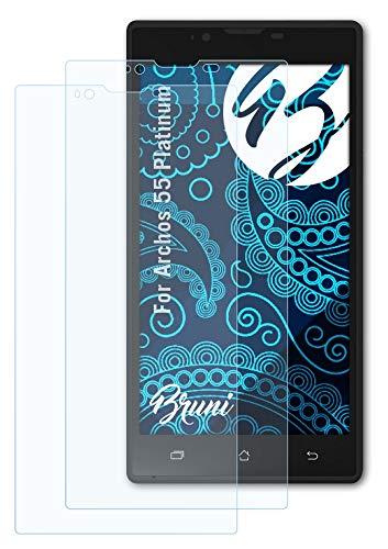 Bruni Schutzfolie kompatibel mit Archos 55 Platinum Folie, glasklare Bildschirmschutzfolie (2X)