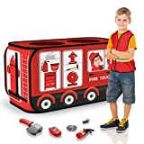Temi Fire Truck Tent - Foldable Pop Up Pretend Play Tent | Playhouse for Kids Outdoor Indoor | Included Role Play Firefighter Costume and Fire Tools (44x26in)