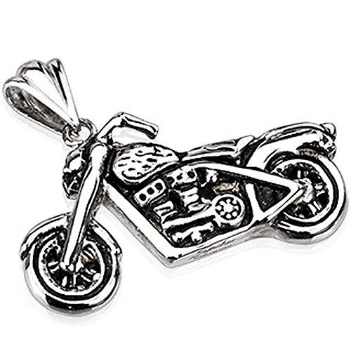Bungsa® Motorrad Kettenanhänger Highway to Hell Edelstahl Silber für Damen und Herren (Pendant Anhänger Charm Beads Chirurgenstahl Schmuck)