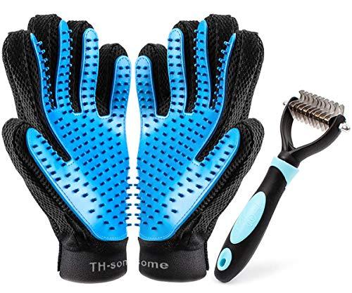 Haustier Bürsten Handschuh Fellpflege-Handschuh Grooming Massagehandschuh Hundebürste Katzenbürste Fellbürste für Hunde Katzen JAANY