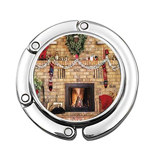 Gemütliches Feuer in gemauertem Kamin und Mantel verziert für Weihnachten Faltbarer Handtaschen-Taschen-Geldbeutel-Aufhänger-Hakenhalter